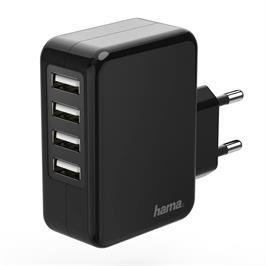 מטען אוניברסלי 4 יציאות USB דגם 136766 HAMA