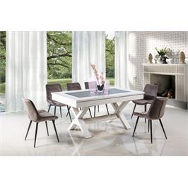 שולחן פינת אוכל אלסקה בעל נוכחות מרשימה עשוי עץ כשהפלטה העליונה שלו משלבת MDF מצופה פורניר LEONARDO דגם שולחן אלסקה
