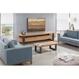 מערכת מזנון ושולחן עשוי עץ בשילוב פורניר על גבי רגלי מתכת גבוהות מראה אוורירי מלא עוצמה ומגירות עם טריקה שקטה -LEONARDO דגם וודסטוק