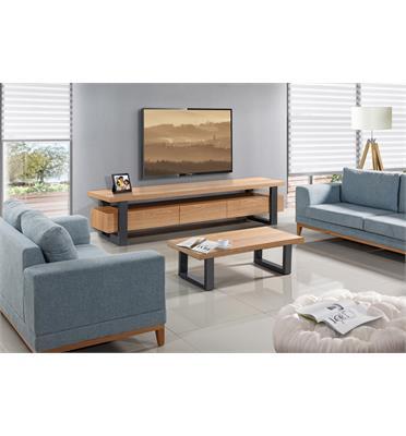 סט מזנון ושולחן עשוי עץ בשילוב פורניר על גבי רגלי מתכת גבוהות מראה אוורירי מלא עוצמה ומגירות עם טריקה שקטה -LEONARDO דגם וודסטוק