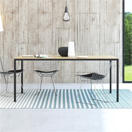 שולחן אוכל סקנדינבי 180 סמ עם רגלי ברזל  HOME DECOR דגם דורין - אלון