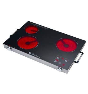 כירה קרמית משולשת הספק 3400W שלושה גופי חימום תוצרת SOL דגם SL-8833