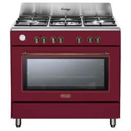 """תנור משולב כיריים 90 ס""""מ ובעיצוב וינטג' צבע אדום תוצרת DELONGHI דגם NDS952R"""
