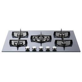 """כיריים גז ברוחב 75 ס""""מ משטח זכוכית שחור 5 להבות תוצרת DELONGHI איטליה דגם NDG39G"""