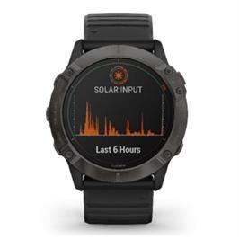 שעון ספורט תוצרת  GARMIN דגם fenix 6X  Pro Solar Edition 010-02157-21H Titanium Carbon Gray