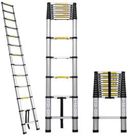 סולם אלומיניום טלסקופי בודד ניתן לישר את מפרק הסולם ולהעריכו עד לגובה של 4.4 מטרים
