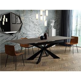 שולחן אוכל קרמיקה מפואר באורך 1.6 מ' נפתח ל- 2.1 מ' עם רגלי מתכת HOME DECOR דגם מלגה