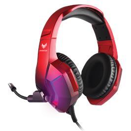 אוזניות SPARKFOX דגם H1 RED עם תאורת RGB מתחלפת