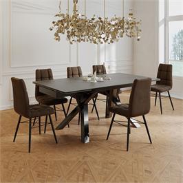 פינת אוכל מפוארת עם שולחן קרמיקה 1.8 מ' נפתח ל- 2.6 מ' ו-6 כסאות HOME DECOR דגם ברצלונה-קרול