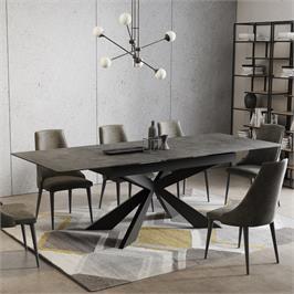 שולחן אוכל קרמיקה מפואר באורך 1.8 מ' נפתח ל- 2.4 מ' עם רגל מתכת HOME DECOR דגם פלמה