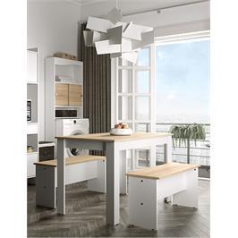 פינת אוכל כוללת שולחן וזוג ספסלים מבית BRADEX דגם NICE PLUS