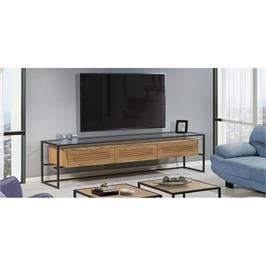 מזנון מרהיב לשידרוג הסלון עשוי מזכוכית ברזל בצבע שחור ועץ בציפוי פורניר LEONARDO דגם RJ02
