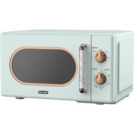 מיקרוגל מכני 20 ליטר רטרו 700 וואט 5 תכניות עבודה תוצרת Delonghi דגם DL-3720-G + מיני בידורית APEX מתנה!