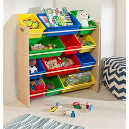 """ארגונית צעצועים 12 קופסאות צבעוניות גימור עץ מבית HONEY CAN DO ארה""""ב דגם SRT-01602"""