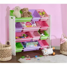 """ארגונית צעצועים 12 קופסאות צבעוניות גימור לבן בהיר מבית HONEY CAN DO ארה""""ב דגם SRT-01603"""