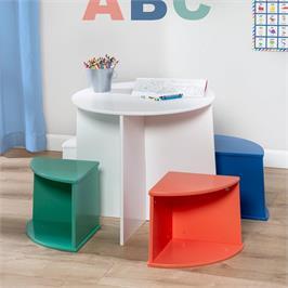 """סט שולחן ו-4 כסאות מעץ מעוצב חזק במיוחד המאפשר גם איחסון מבית HONEY CAN DO ארה""""ב דגם TBL-08724"""
