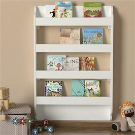 כוננית ספרים מעוצבת בצבע לבן בעלת 4 מדפים מבית HOMAX דגם דרמה DE6006