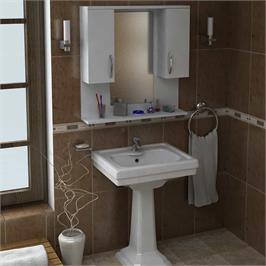 ארונית אמבטיה משולבת מראה ומדף בצבע לבן מבית HOMAX דגם טייגר DE2930