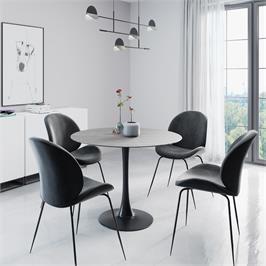 פינת אוכל עגולה עם שולחן פלטת אבן ייחודית ו-4 כסאות מרופדים HOME DECOR דגם שפילד-אגם