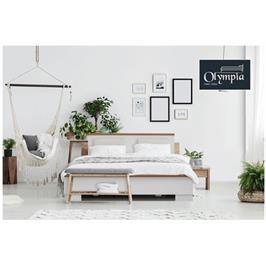 מיטה מעוצבת עשויה מלמין יצוק בשילוב עץ אורן מלא תוצרת אולימפיה דגם 7039 מזרן מתנה!