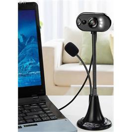 מצלמת רשת USB למחשב WEBCAM כולל מיקרופון מובנה ותאורת לד מבית GRANDTEC דגם ZOOMS