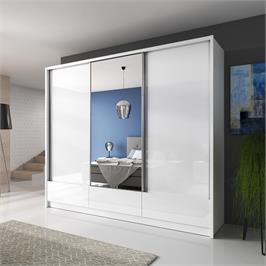 """ארון הזזה 250 ס""""מ 3 דלתות עם דלת מראה ומגירות תוצרת אירופה HOME DECOR דגם דורון"""