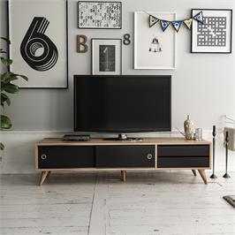 """מזנון מעוצב לסלון ברוחב 160 ס""""מ בגוון אגוז בשילוב שחור Tudo Design דגם AMOR BLACK"""