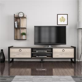 """מזנון מעוצב לסלון ברוחב 184 ס""""מ בגוון אורן טבעי עם רגלי מתכת ומעמד מדפים Tudo Design דגם Sena"""