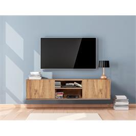 """מזנון טלויזיה צף ברוחב 140 ס""""מ עם 2 קלאפות בגוון אורן אטלנטי Tudo Design דגם מעיין"""