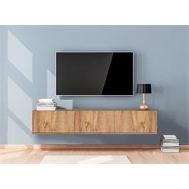 """מזנון טלויזיה צף ברוחב 160 ס""""מ עם 3 קלאפות בגוון אורן אטלנטי Tudo Design דגם אלה"""