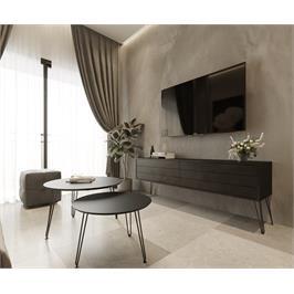 סט מזנון וזוג שולחנות איכותיים, השילוב שישדרג לכם את הסלון מבית פנדה סטייל דגם בלאק