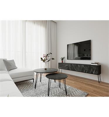 סט מזנון וזוג שולחנות איכותיים, השילוב שישדרג לכם את הסלון מבית פנדה סטייל דגם גרניט שחור