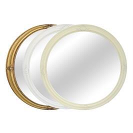 מראה עגולה מעוטרת עם מסגרת עץ בקוטר 100 Tudo Design דגם מולאן צבע מסגרת לבחירה