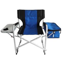 כיסא קמפינג+צידנית מבית GLAMP בצבע שחור/כחול