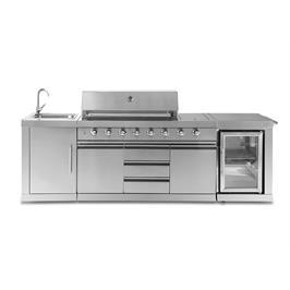גריל גז מטבח עוצמתי במיוחד בעל כיור מובנה, יחידות אחסון ואופציה למקרר חוץ מבית SCAB דגם Dallas