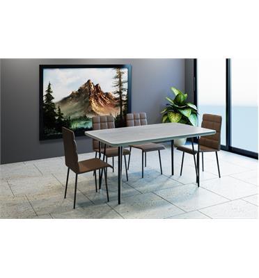 פינת אוכל מלבנית מעץ כולל 4 כסאות מבית פנדה סטייל דגם שוויץ