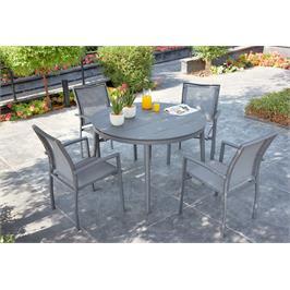 מערכת גן יוקרתית מאלומיניום הכוללת שולחן עגול נפתח ו-4 כסאות גן מבית SCAB דגם ANISE