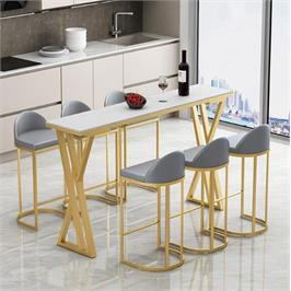 שולחן לאי מטבח ממתכת מעוצבת ושיש יוקרתי ללא כסאות סדרה יוקרתית מבית ROSSO ITALY דגם MSH-2-93A