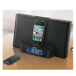 רדיו שעון מעורר/תחנת עגינה iPod/iPhone תצוגת LCD תוצרת SONY דגם ICF-DS15IP