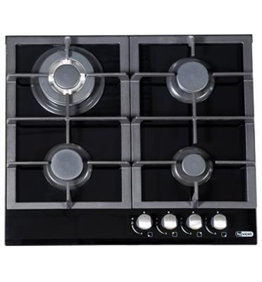 """כיריים גז 4 להבות רוחב 60 ס""""מ זכוכית בצבע שחור תוצרת LY VENT דגם HOT665"""
