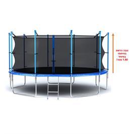 טרמפולינה ענקית מקצועית איכותית ובטיחותית עם רשת הגנה פנימית קוטר 3.66 מ' 12fit מבית EVER-YOUNG