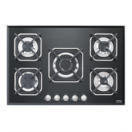 """כיריים גז בנוי 5 להבות משטח זכוכית שחורה ברוחב 75 ס""""מ תוצרת LOFRA דגם HGN7E0"""