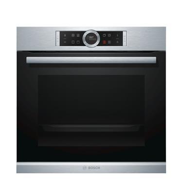 תנור אפיה בנוי 13 תכניות סגירת ופתיחת דלת רכה בגימור נירוסטה מסדרה 8 בוש דגם HBG634BS1