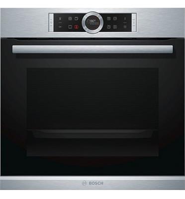 תנור בנוי פירוליטי 13 תכניות סגירת ופתיחת דלת רכה בגימור נירוסטה בוש דגם HBG675BS1