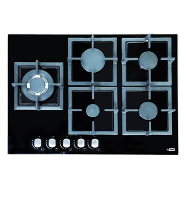 כיריים גז 5 להבות משטח זכוכית תוצרת Ly Vent דגם HOT685