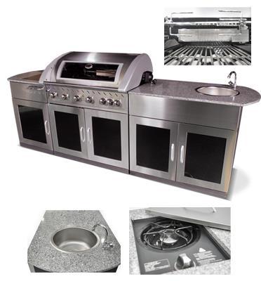 מטבח חוץ הכולל גריל גז איכותי,שיש, כירת גז עוצמתית,כיור וארוניות אחסון תוצרת DCHEF דגם 10203040