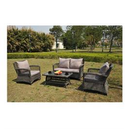 פינת ישיבה לגינה מראטן עגול קלוע כוללת ספה דו מושבית ו- 2 ספות יחיד תוצרת SCAB. דגם new port