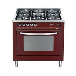 """תנור משולב כיריים בעיצוב תעשייתי ואלגנטי 90 ס""""מ צבע אדום תוצרת LOFRA דגם MSRG96MF/CI"""