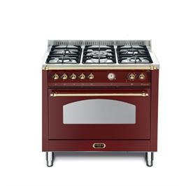 """תנור משולב כיריים בעיצוב כפרי ברוחב 90 ס""""מ צבע בורדו תוצרת LOFRA דגם RRG96MFT/CI"""