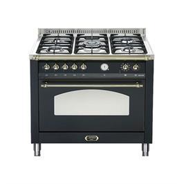 """תנור משולב כיריים בעיצוב כפרי ברוחב 90 ס""""מ בצבע שחור תוצרת LOFRA דגם RNMG96MFT/CI"""